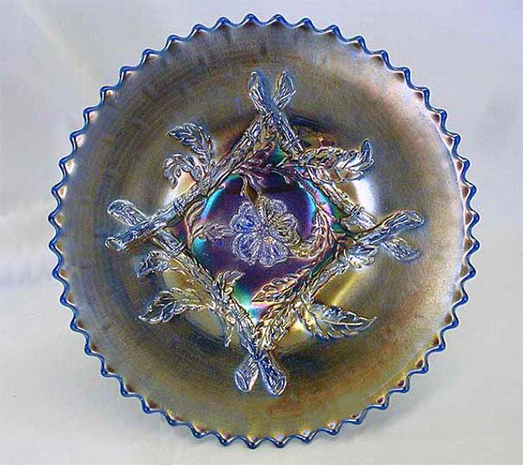 "Apple Blossom Twigs 9"" plate - blue silvery"