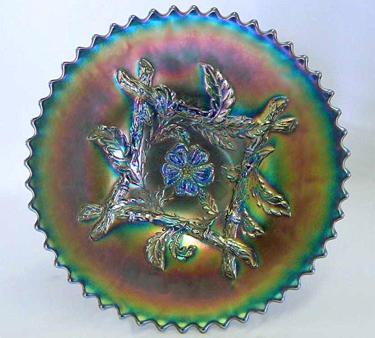 "Apple Blossom Twigs 9"" plate, blue"