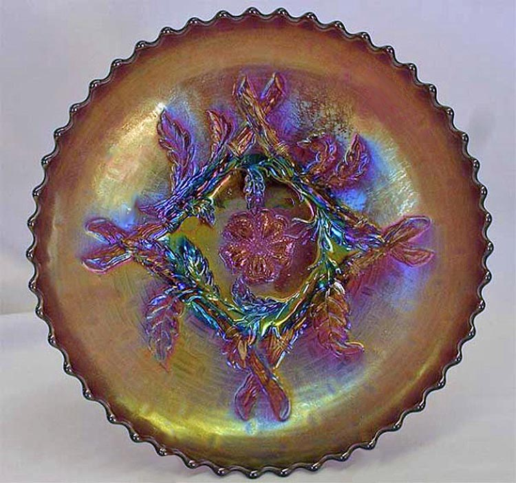 Apple Blossom Twigs IC shaped bowl, purple