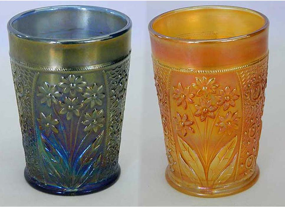 Bouquet tumblers, blue and marigold