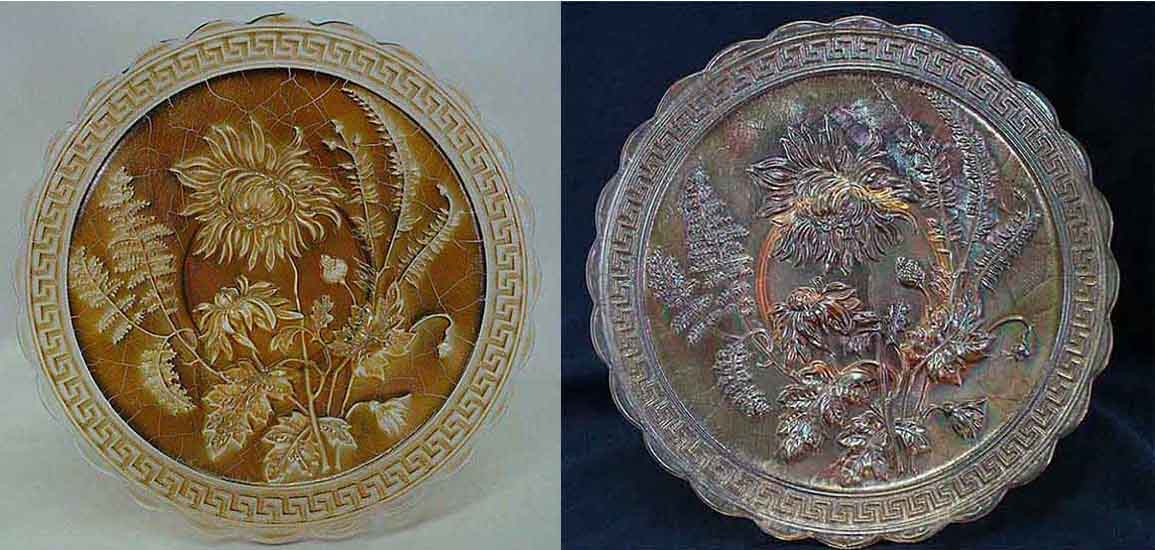 Chrysanthemum chop plate in bronze