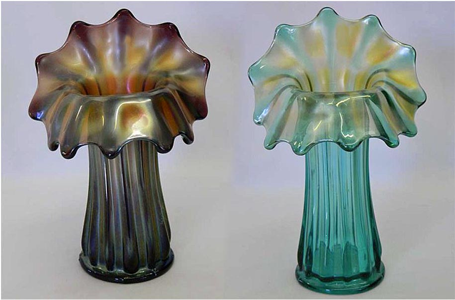 "Corinth JIP 8""vase in amethyst and 9"" vase in aqua, by Westmoreland"