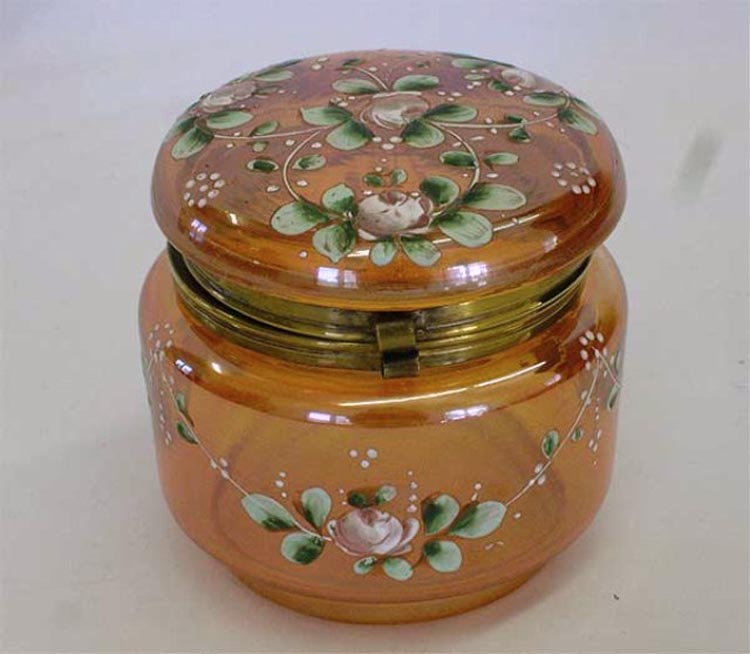"covered box 3 3/4"" with enameled decoration, marigold"