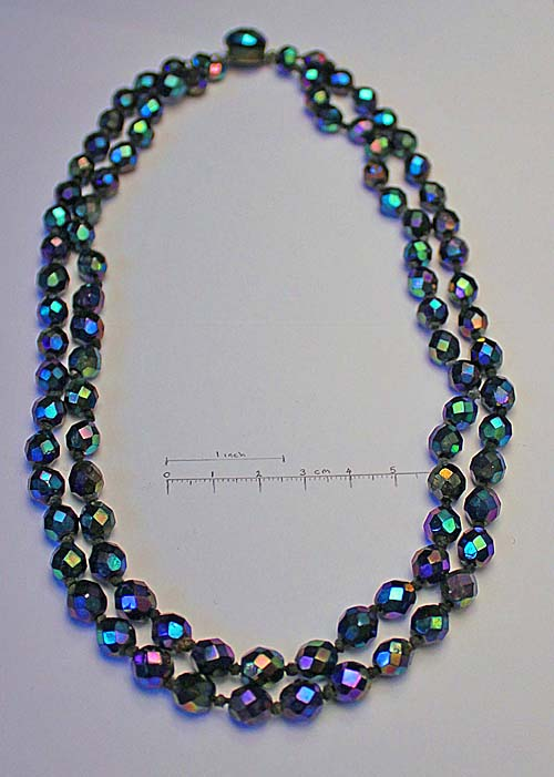 double strand necklace, knotted, matching clasp