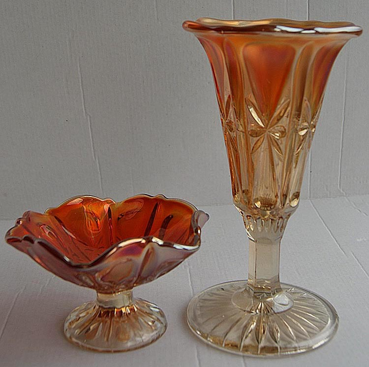 Propeller compote and vase in marigold.