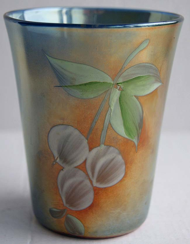 (Enameled) Cherries tumbler, blue, Northwood