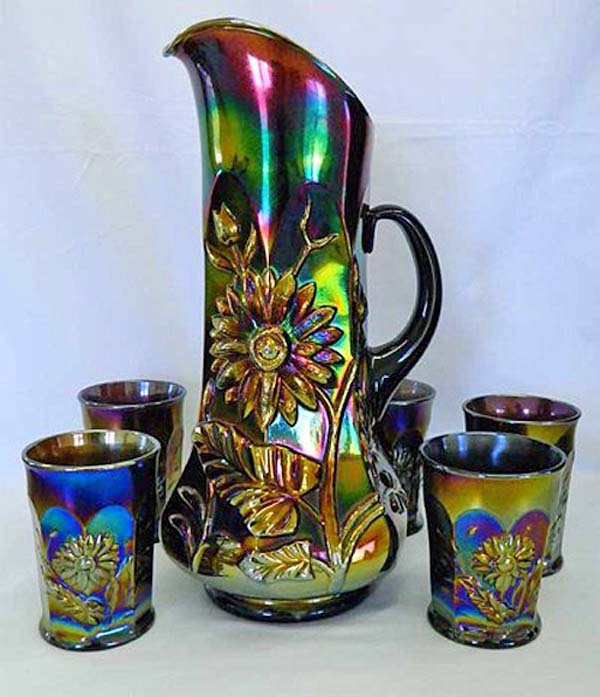 Dandelion 6 pce tankard water pitcher set in purple