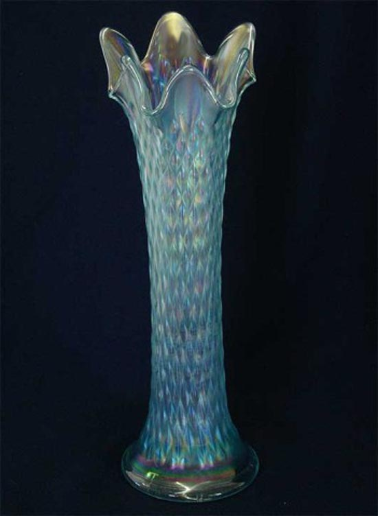 Diamond Point vase in ice blue