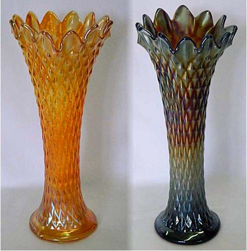 "Diamond Point, 10"" vases, marigold and purple"