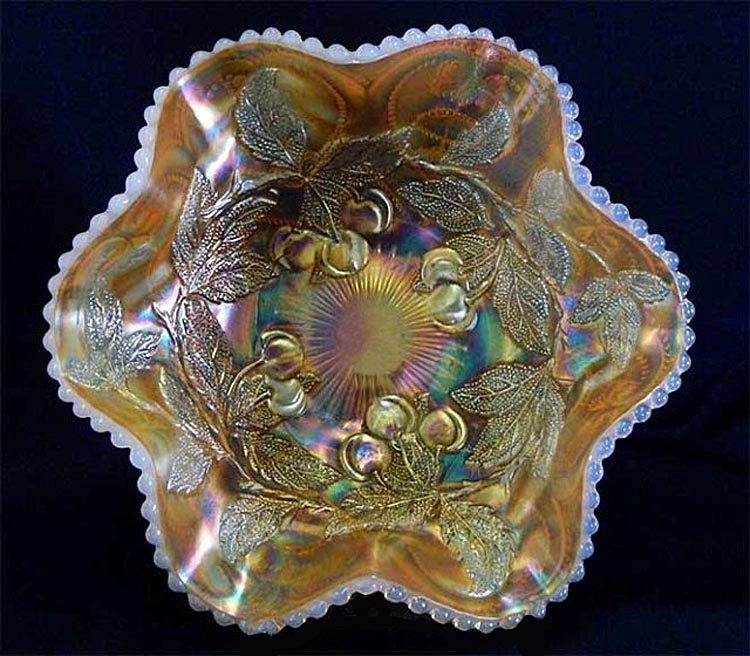 Dugan Cherries 6 ruffled bowl, peach opal