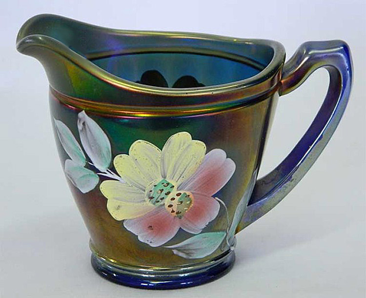 (Enameled) Apple Blossom creamer, blue, Northwood