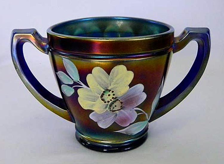 (Enameled) Apple Blossom sugar, blue, Northwood