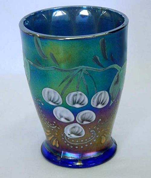 (Enameled) Ground Cherries tumbler, blue, Northwood