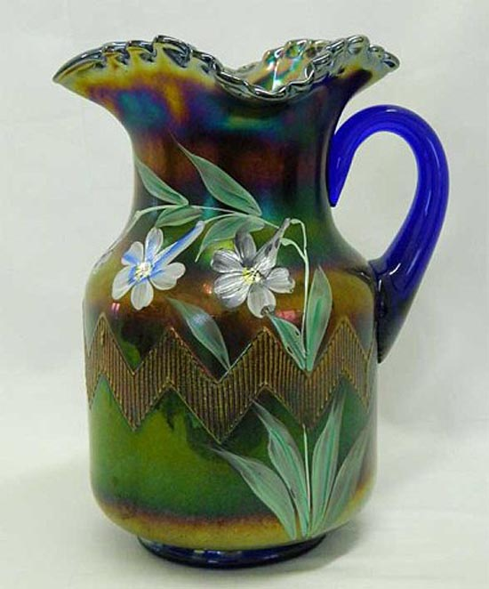 (Enameled) Columbine pitcher, blue. Northwood