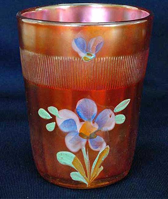(Enameled) Forget-me-not, with prism band, marigold tumbler, Fenton