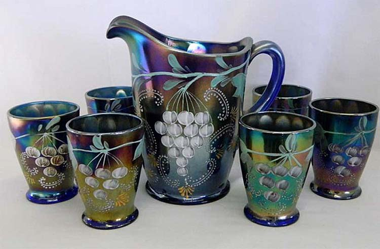 (Enameled) Ground Cherries 7pc. waterset, blue, Northwood