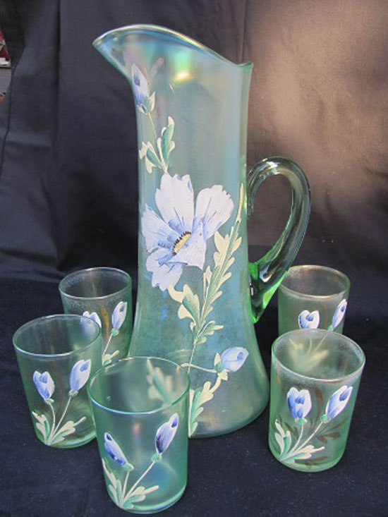 (Enameled) Dianthus tankard water set, ice green