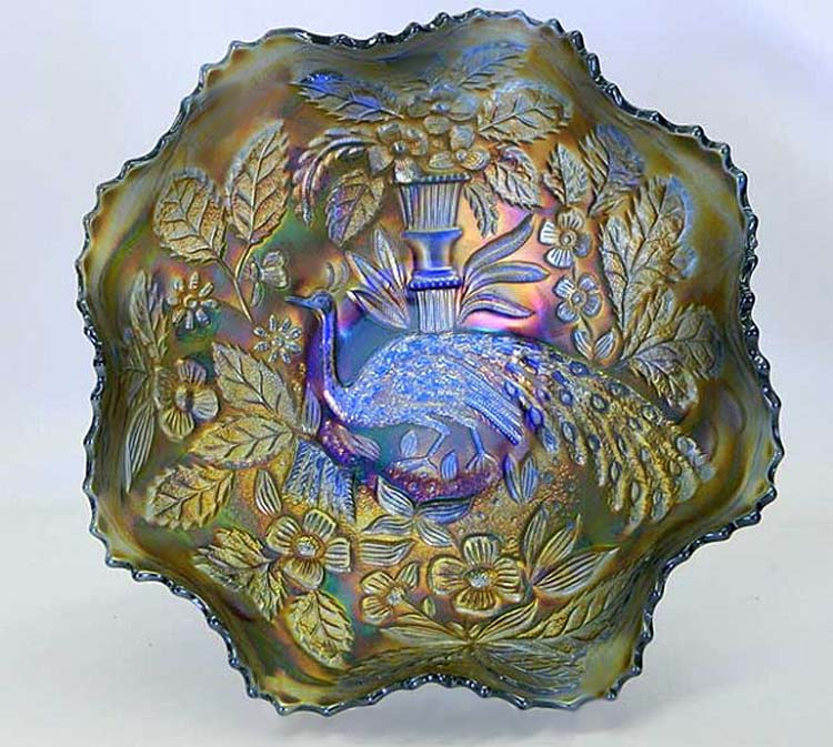Peacock and Urn, ruffled bowl blue