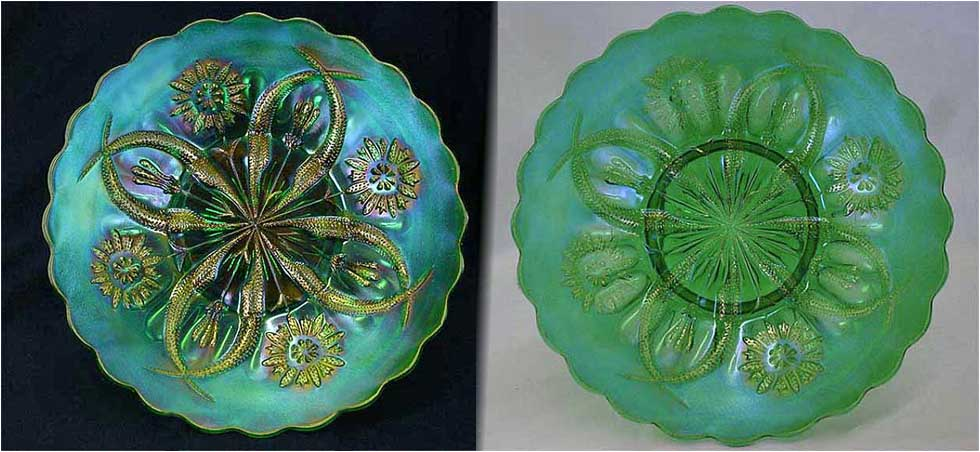 "Four Flowers Variant 9"" PLATE, green, Brockwitz"