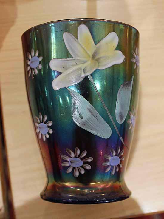 (Enameled) Daisy & Little Flowers tumbler, blue, Northwood