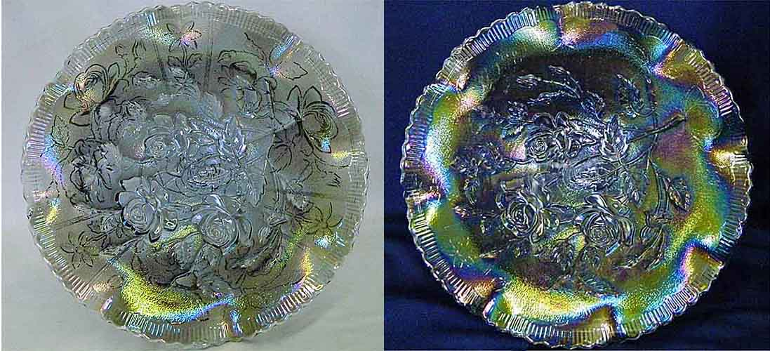 "Open Rose 11"" ruffled bowl, smoke"