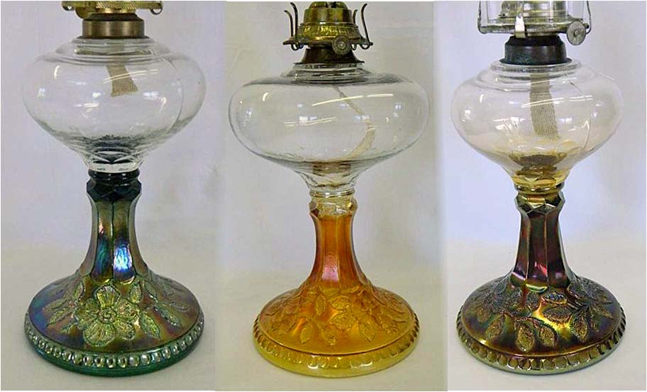 Wild Rose kerosene lamps in green, marigold and amethyst