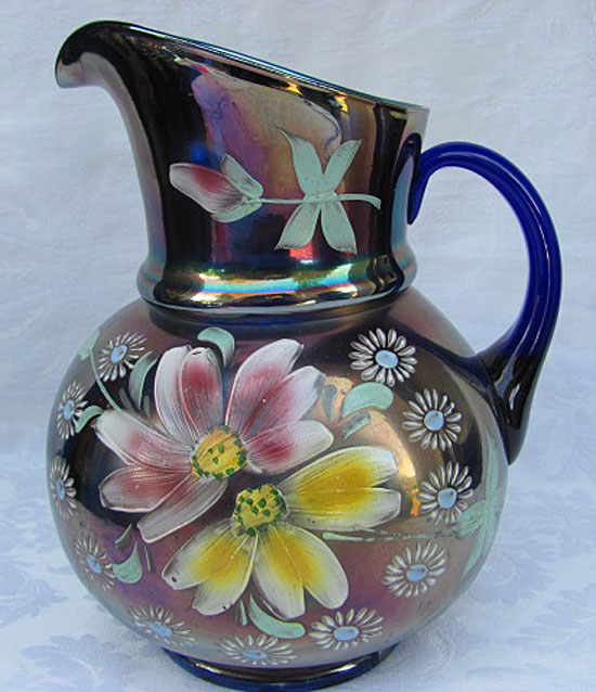 (Enameled) Apple Blossom bulbous pitcher, blue