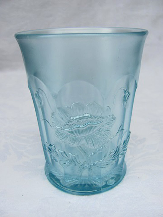 Oriental Poppy tumbler, ice blue