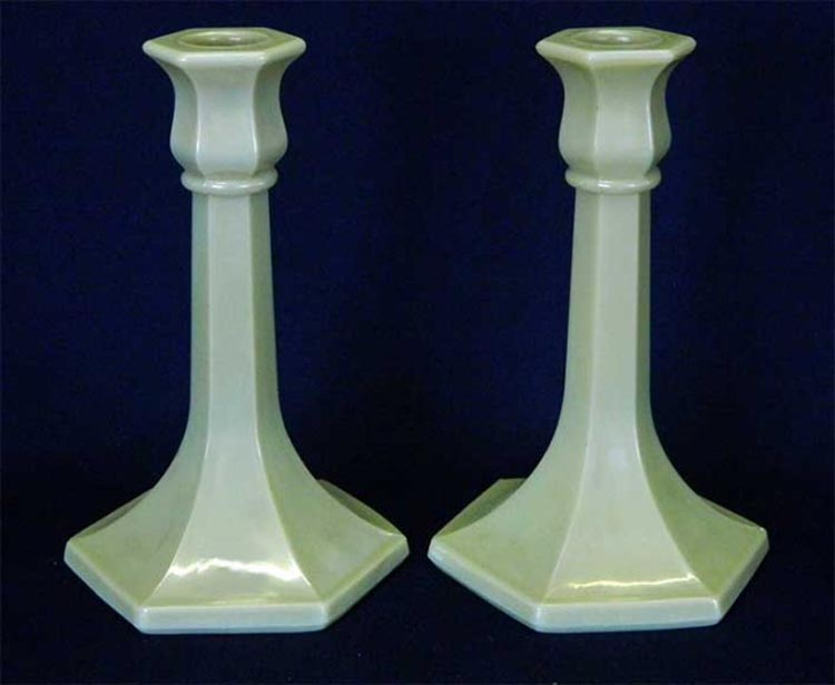 "Number 658 trumpet 7"" candlesticks, iridised custard"