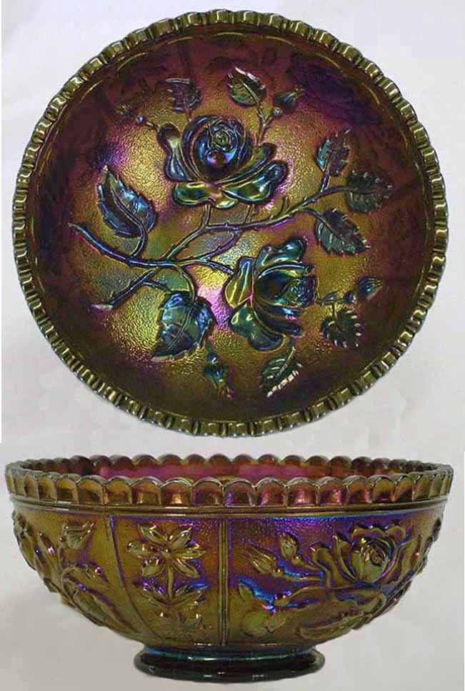 "Open Rose 4 1/2"" deep round bowl in purple"