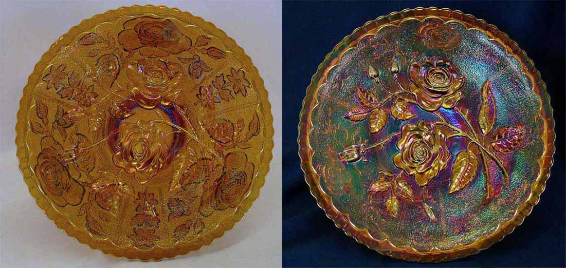 Open Rose plate, amber