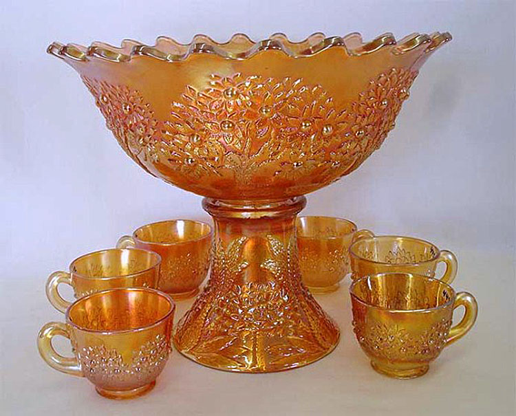 Orange Tree punch set, flared edge, marigold