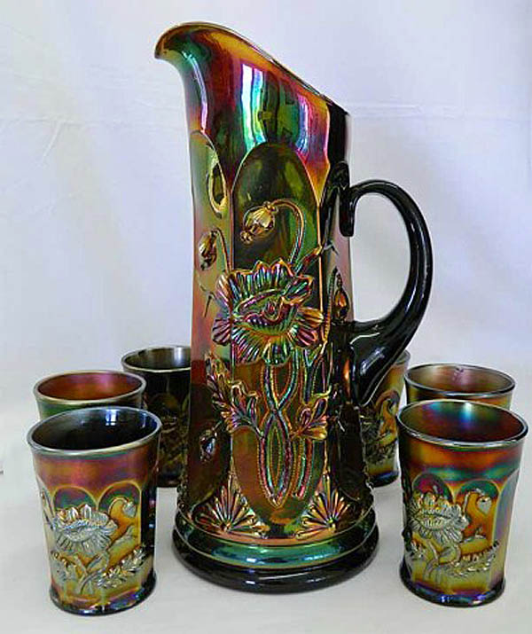 Oriental Poppy 7pc. tankard water set, purple