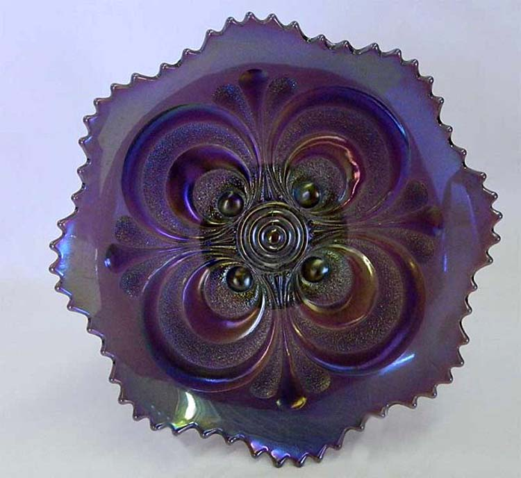 Scroll Embossed round bowl, purple