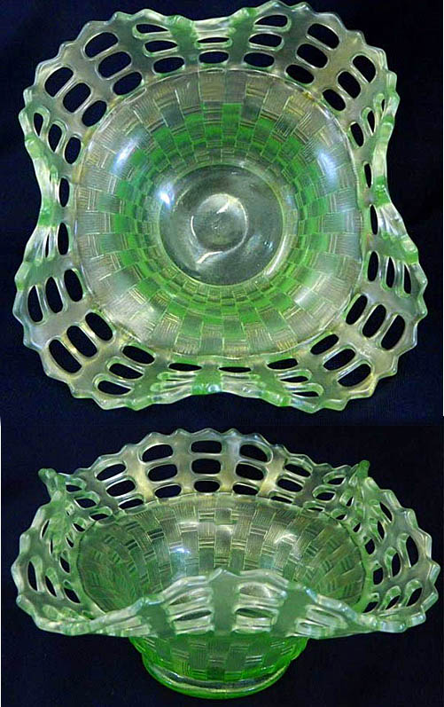 Open Edge basket, three row, square shape, ice green