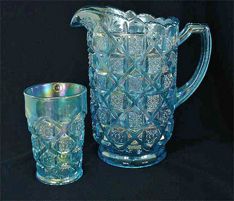 Checkerboard part water set, ice blue, L.G.Wrigh