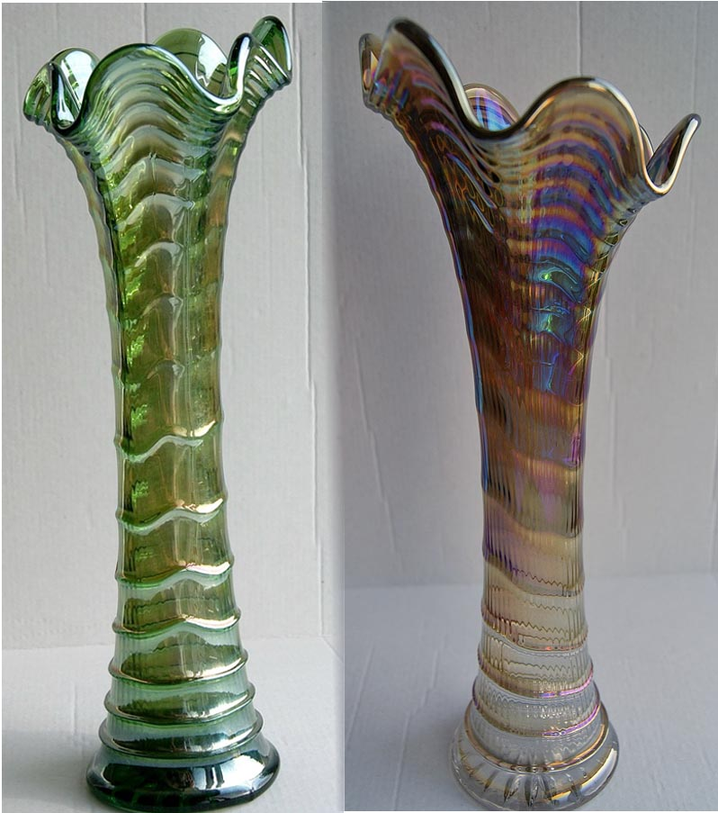 "Ripple11"" vases in helios and smoke."